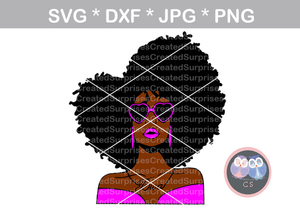 Diva, wild hair, girl, Diva woman, heart glasses, digital download, SVG, DXF, cut file, personal, commercial, use with Silhouette Cameo, Cricut and Die Cutting Machines