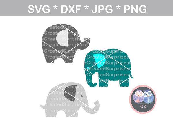 Elephant silhouette trio, nursery, baby, digital download, SVG, DXF, cut file, personal, commercial, use with Silhouette Cameo, Cricut and Die Cutting Machines