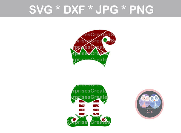 Elf hat, Name (not included), elf feet, shoes, Christmas, digital download, SVG, DXF, cut file, personal, commercial, use with Silhouette Cameo, Cricut and Die Cutting Machines