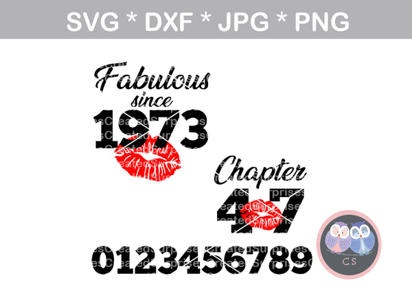 Fabulous since, Chapter, interchangable, (All ages/years included), bday saying, digital download, SVG, DXF, cut file, personal, commercial, use with Silhouette, Cricut and Die Cutting Machines