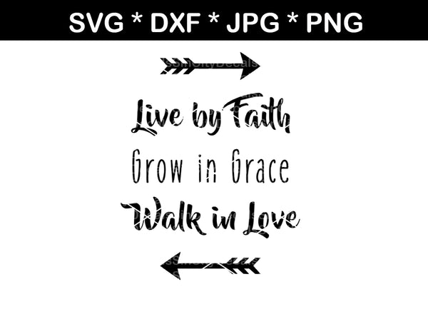 Faith, Grace, Love, digital download, SVG, DXF, cut file, personal, commercial, use with Silhouette Cameo, Cricut and Die Cutting Machines