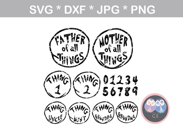 Family of all Things, Mother, Father, Thing, digital download, SVG, DXF, cut file, personal, commercial, use with Silhouette, Cricut and Die Cutting Machines
