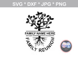 Split Family Reunion Tree, Branches, roots, digital download, SVG, DXF, cut file, personal, commercial, use with Silhouette Cameo, Cricut and Die Cutting Machines