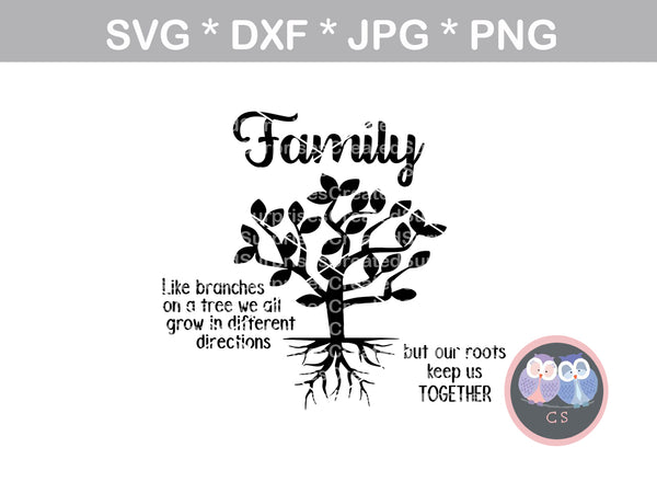 Family Tree, Branches 2, digital download, SVG, DXF, cut file, personal, commercial, use with Silhouette Cameo, Cricut and Die Cutting Machines