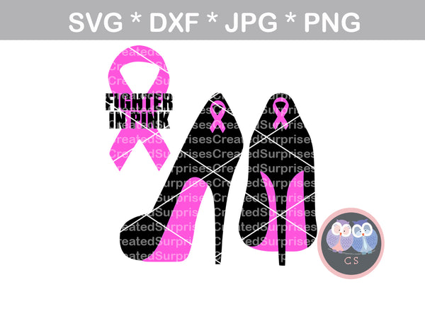Fighter In Pink Breast Cancer Awareness Pink Ribbon