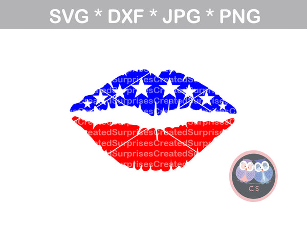 Flag Lips, American, 4th of July, Stars, Stripes, digital download, SVG, DXF, cut file, personal, commercial, use with Silhouette Cameo, Cricut and Die Cutting Machines