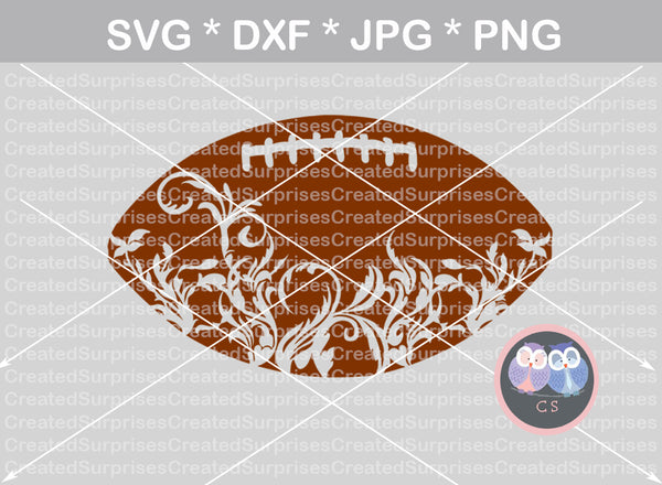 Flourish Football, sport, ball, digital download, SVG, DXF, cut file, personal, commercial, use with Silhouette Cameo, Cricut and Die Cutting Machines