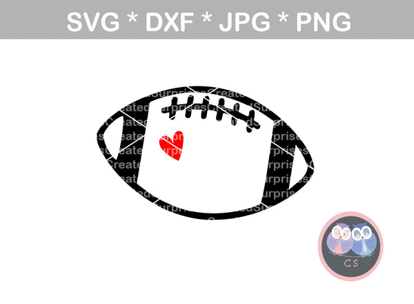 Cute Football, heart, sport, ball, digital download, SVG, DXF, cut file, personal, commercial, use with Silhouette Cameo, Cricut and Die Cutting Machines