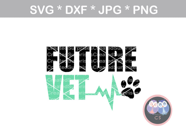 Future vet, heartbeat, animal, pawprint, digital download, SVG, DXF, cut file, personal, commercial, use with Silhouette, Cricut and Die Cutting Machines