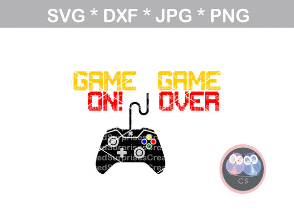 Game on, Game over, controller, digital download, SVG, DXF, cut file, personal, commercial, use with Silhouette Cameo, Cricut and Die Cutting Machines