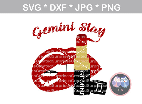 Gemini Slay, biting Lips, lipstick, digital download, SVG, DXF, cut file, personal, commercial, use with Silhouette Cameo, Cricut and Die Cutting Machines