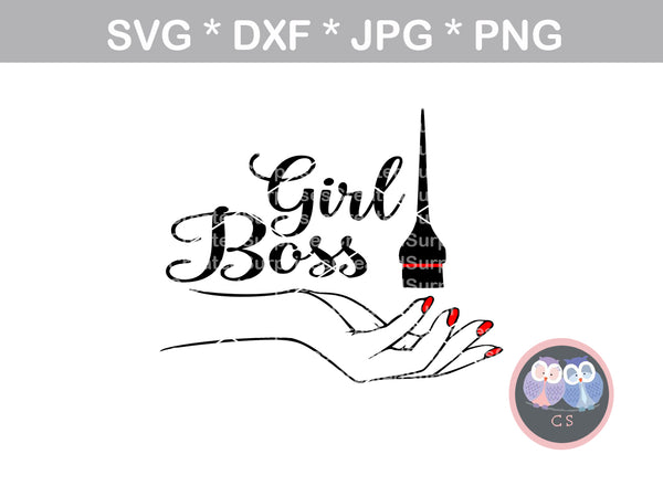 Girl Boss, brush, woman, motivational, digital download, SVG, DXF, cut file, personal, commercial, use with Silhouette Cameo, Cricut and Die Cutting Machines