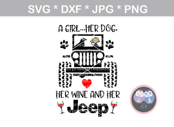 Girl and Her Dog, Wine, Jeep, heart, paw, digital download, SVG, DXF, cut file, personal, commercial, use with Silhouette Cameo, Cricut and Die Cutting Machines