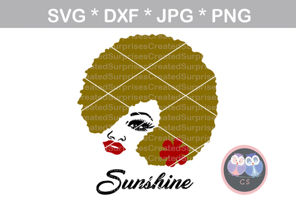 Afro woman, wild hair, afro, girl, digital download, SVG, DXF, cut file, personal, commercial, use with Silhouette Cameo, Cricut and Die Cutting Machines