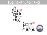 She got it from me, I got it from mama, mommy and me, digital download, SVG, DXF, cut file, personal, commercial, use with Silhouette Cameo, Cricut and Die Cutting Machines