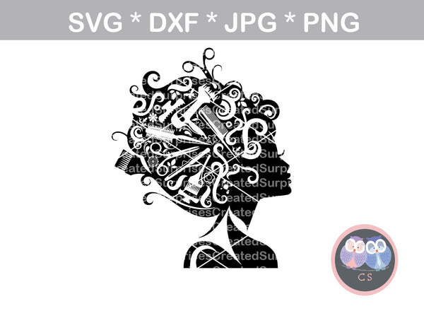 Hairstylist Girl, cosmetology, hairdresser, scissors, hair, woman, digital download, SVG, DXF, cut file, personal, commercial, use with Silhouette Cameo, Cricut and Die Cutting Machines