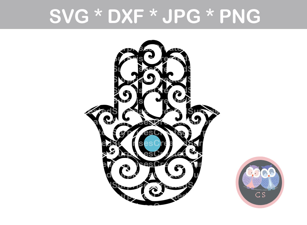 Hamsa, hand, Eye, Indian, luck, health, good forune, digital download, SVG, DXF, cut file, personal, commercial, use with Silhouette Cameo, Cricut and Die Cutting Machines