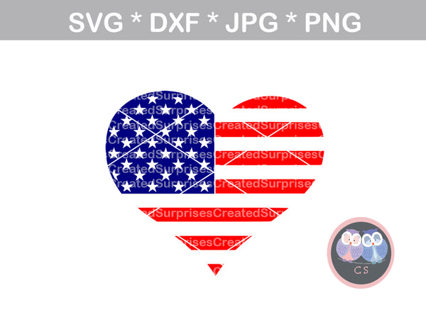 Heart, flag, Hero, US, digital download, SVG, DXF, cut file, personal, commercial, use with Silhouette Cameo, Cricut and Die Cutting Machines