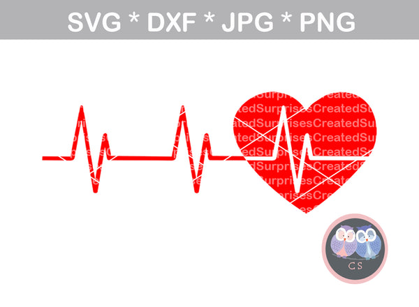 Heart, heartbeat, digital download, SVG, DXF, cut file, personal, commercial, use with Silhouette Cameo, Cricut and Die Cutting Machines