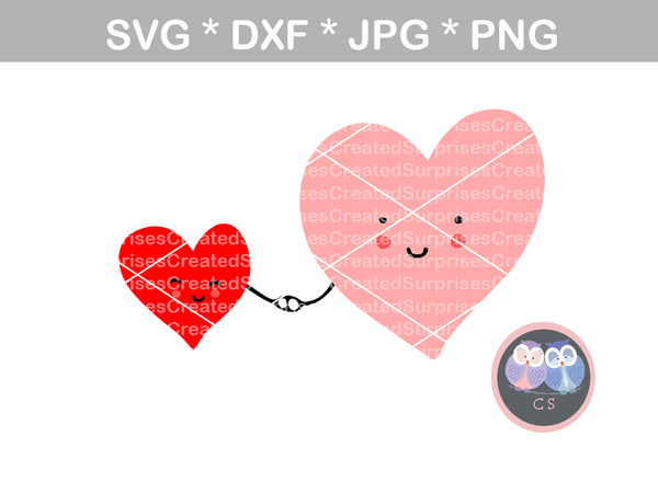 Hearts holding hands, heart, smile, digital download, SVG, DXF, cut file, personal, commercial, use with Silhouette Cameo, Cricut and Die Cutting Machines