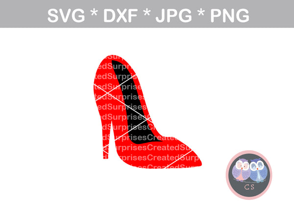 High heel, front view, stiletto, pump, heel, digital download, SVG, DXF, cut file, personal, commercial, use with Silhouette, Cricut and Die Cutting Machines