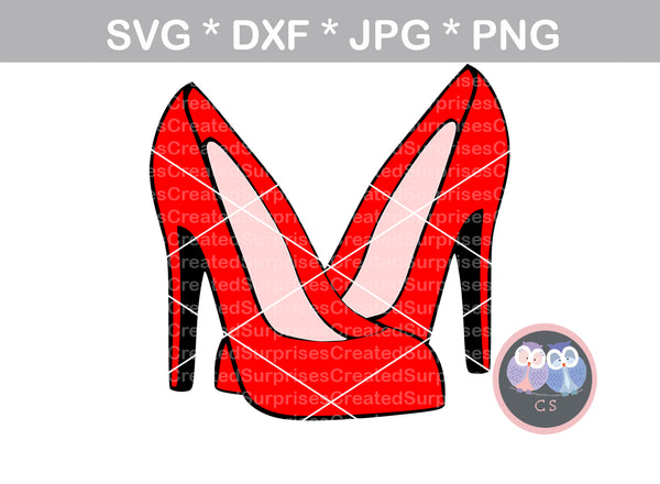Crossed High heels, stilettos, pumps, heels, digital download, SVG, DXF, cut file, personal, commercial, use with Silhouette Cameo, Cricut and Die Cutting Machines