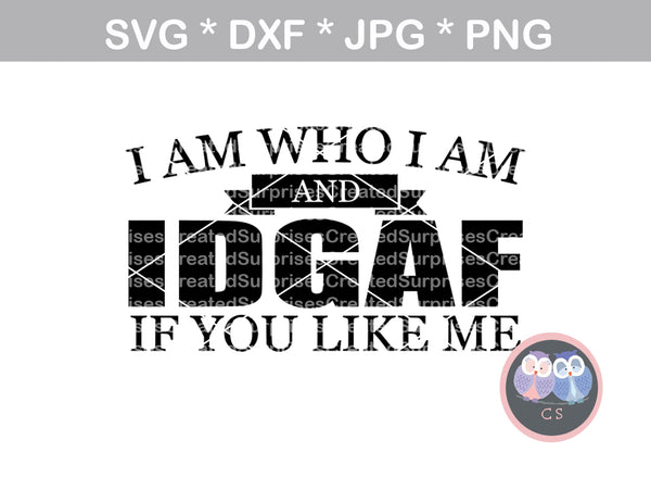 I am who I am, IDGAF, if you like me, funny, digital download, SVG, DXF, cut file, personal, commercial, use with Silhouette, Cricut and Die Cutting Machines