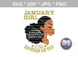 Afro (All Months Included) Girl, sassy saying, woman, digital download, SVG, DXF, cut file, personal, commercial, use with Silhouette Cameo, Cricut and Die Cutting Machines
