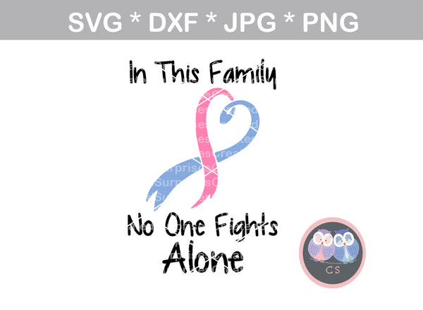 In This Family no one fights alone, Cancer, Hope, Believe, Faith, Pink Ribbon, cancer awareness, digital download, SVG, DXF, cut file, personal, commercial, use with Silhouette Cameo, Cricut and Die Cutting Machines