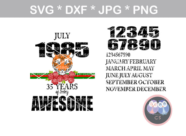 Tiger, years being awesome, birthday, fully interchangeable dates/months, digital download, SVG, DXF, cut file, personal, commercial, use with Silhouette, Cricut and Die Cutting Machines
