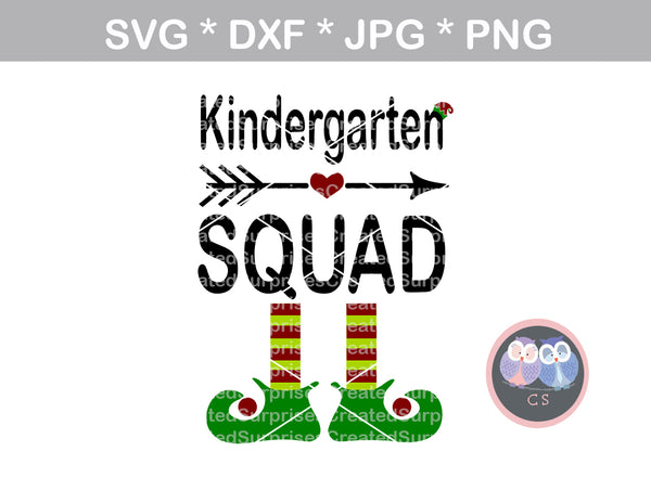Kindergarten Squad, Elf hat, elf feet, shoes, Christmas, digital download, SVG, DXF, cut file, personal, commercial, use with Silhouette Cameo, Cricut and Die Cutting Machines