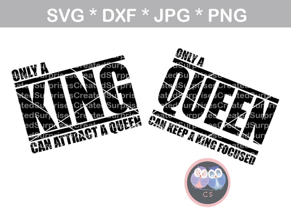 Her King Svg His Queen Svg King And Queen Svg Svg Design: King, Queen, Attract, Keep Focused, Digital Download, SVG