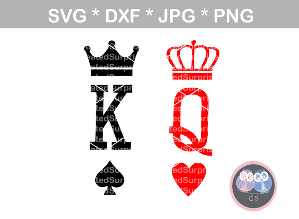 King, Queen, heart, spade, suite, crowns, crown, digital download, SVG, DXF, cut file, personal, commercial, use with Silhouette Cameo, Cricut and Die Cutting Machines