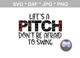 Lifes A Pitch, Baseball, laces, ball, digital download, SVG, DXF, cut file, personal, commercial, use with Silhouette Cameo, Cricut and Die Cutting Machines