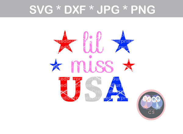 Lil Miss USA, July, Independence day, digital download, SVG, DXF, cut file, personal, commercial, use with Silhouette Cameo, Cricut and Die Cutting Machines