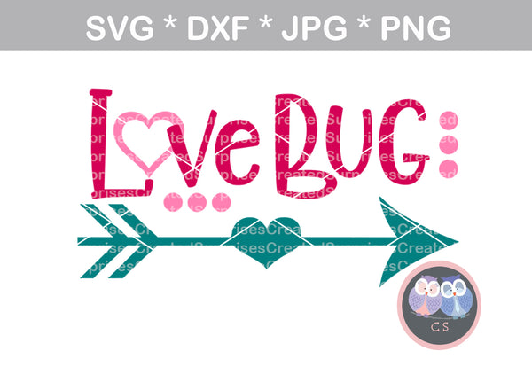 Love Bug, Valentine, arrow, heart, cute, digital download, SVG, DXF, cut file, personal, commercial, use with Silhouette Cameo, Cricut and Die Cutting Machines