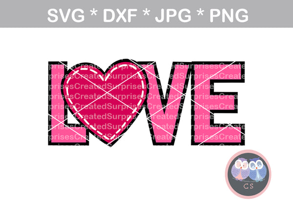 Love, heart stitching, digital download, SVG, DXF, cut file, personal, commercial, use with Silhouette Cameo, Cricut and Die Cutting Machines