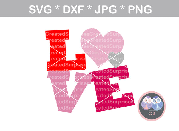 Love, Hearts, Valentine, heart, digital download, SVG, DXF, cut file, personal, commercial, use with Silhouette Cameo, Cricut and Die Cutting Machines
