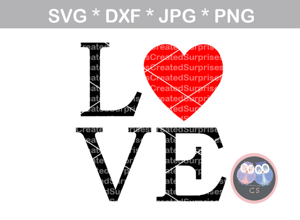 Love, Heart, digital download, SVG, DXF, cut file, personal, commercial, use with Silhouette Cameo, Cricut and Die Cutting Machines