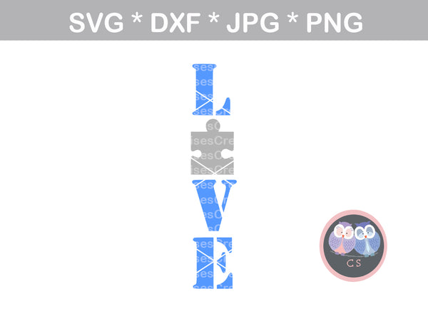 Love, puzzle, autism awareness, digital download, SVG, DXF, cut file, personal, commercial, use with Silhouette Cameo, Cricut and Die Cutting Machines