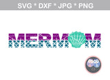 Mermaid Birthday Family, Mom, Dad, Birthday girl, One,1, (name not included) shell, digital download, SVG, DXF, cut file, personal, commercial, use with Silhouette Cameo, Cricut and Die Cutting Machines
