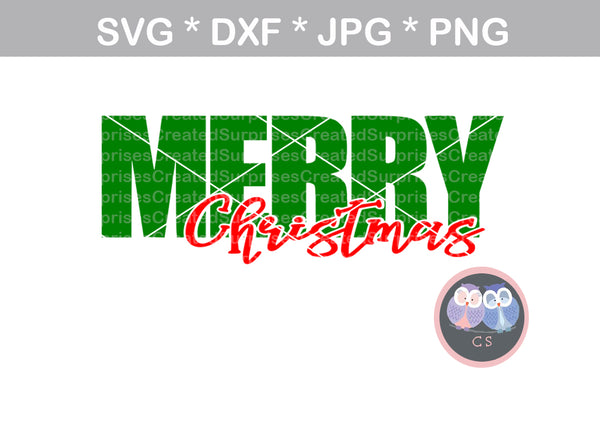 Merry Christmas, digital download, SVG, DXF, cut file, personal, commercial, use with Silhouette Cameo, Cricut and Die Cutting Machines