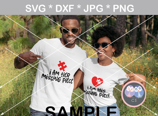 Im His Her Missing Piece, Valentine, puzzle, heart, couple, digital download, SVG, DXF, cut file, personal, commercial, use with Silhouette Cameo, Cricut and Die Cutting Machines