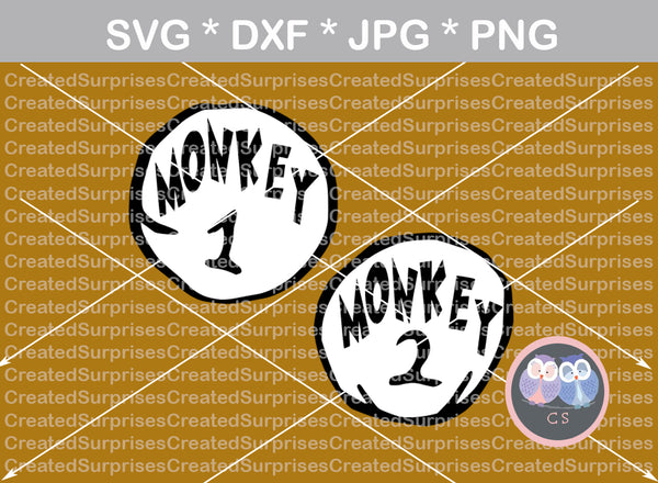 Monkey 1, Monkey 2, cute, funny, numbers 0-9, digital download, SVG, DXF, cut file, personal, commercial, use with Silhouette, Cricut and Die Cutting Machines