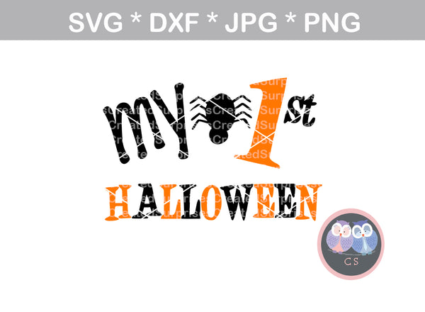 Babys First Halloween, 1st Halloween, spider, digital download, SVG, DXF, cut file, personal, commercial, use with Silhouette Cameo, Cricut and Die Cutting Machines