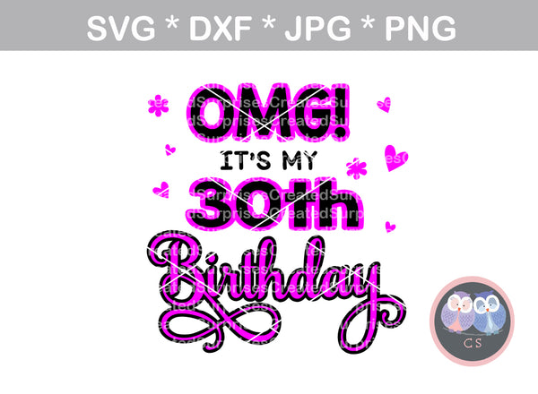 OMG Its My 30th Birthday (All Months/day Included), digital download, SVG, DXF, cut file, personal, commercial, use with Silhouette Cameo, Cricut and Die Cutting Machines