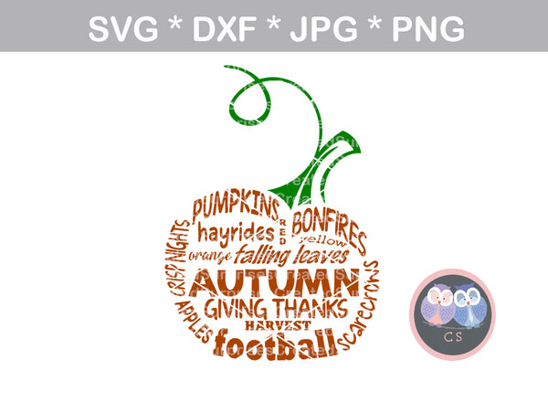 Fall, pumpkin, word art, digital download, SVG, DXF, cut file, personal, commercial, use with Silhouette Cameo, Cricut and Die Cutting Machines