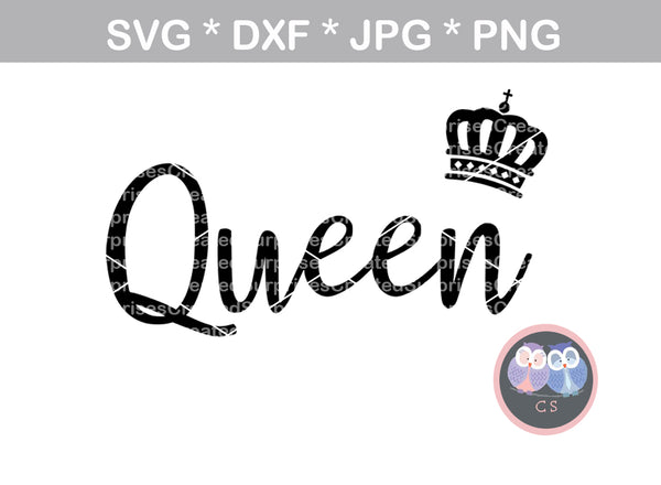 Her King Svg His Queen Svg King And Queen Svg Svg Design: King, Queen, Crowns, Crown, Digital Download, SVG, DXF