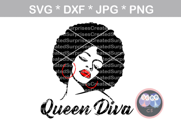 Queen Diva, Afro woman, digital download, SVG, DXF, cut file, personal, commercial, use with Silhouette Cameo, Cricut and Die Cutting Machines
