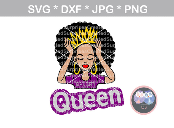 Afro woman, Black queen, hands up, colored face, black woman, digital download, SVG, DXF, cut file, personal, commercial, use with Silhouette Cameo, Cricut and Die Cutting Machines